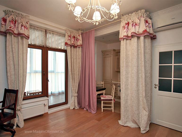 шторы от Мадам Оформитель,  пошив штор в Санкт-Петербурге, пошив штор Спб, деление комнаты на зоны