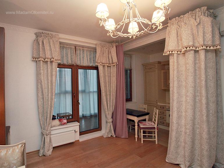 шторы от Мадам Оформитель,  пошив штор в Санкт-Петербурге, пошив штор Спб, деление комнаты на зоны, комната совмещенная с кухней