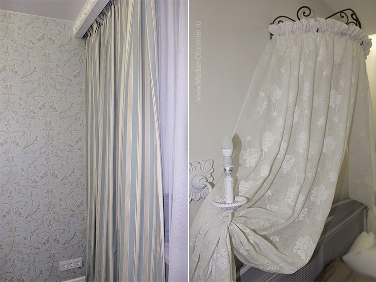 шторы от Мадам Оформитель, балдахин, пошив штор в Санкт-Петербурге, пошив штор Спб, шторы в спальне, шторы в стиле Прованс