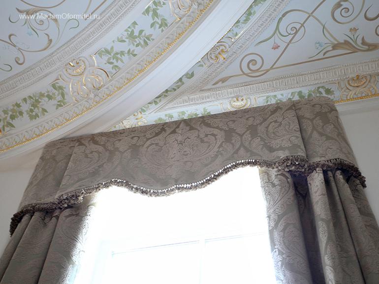 мягкий ламбрекен, лмабрекен, шторы с ламбрекеном, пошив штор в Спб, пошив штор от Мадам Оформитель