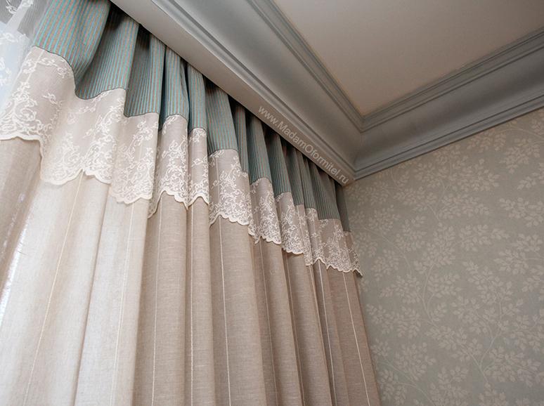Льняные шторы и кружево, шторы в гостиную, шторы в стиле прованс, шторы от Мадам Оформитель