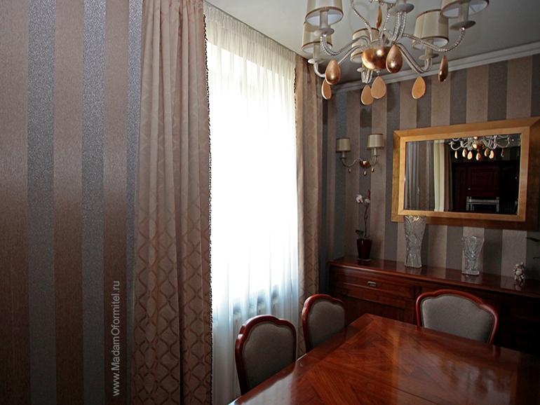 Шторы в современной классике, классические шторы, жаккард, шторы на подкладе, шторы в гостиную, пошив штор на заказ, шторы от Мадам Оформитель