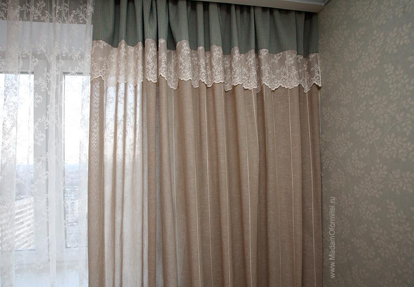 Льняные шторы, Кружево, шторы в гостиную, шторы в стиле прованс, шторы от Мадам Оформитель