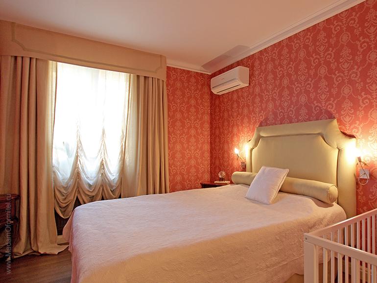 дизайн трехкомнтаной квартиры, дизайн спальни, дизайн интерьеров спб, дизайн-проект квартиры, красивая спальня, шторы в спальне, австрийская штора, французская штора, изголовье кровати заказать
