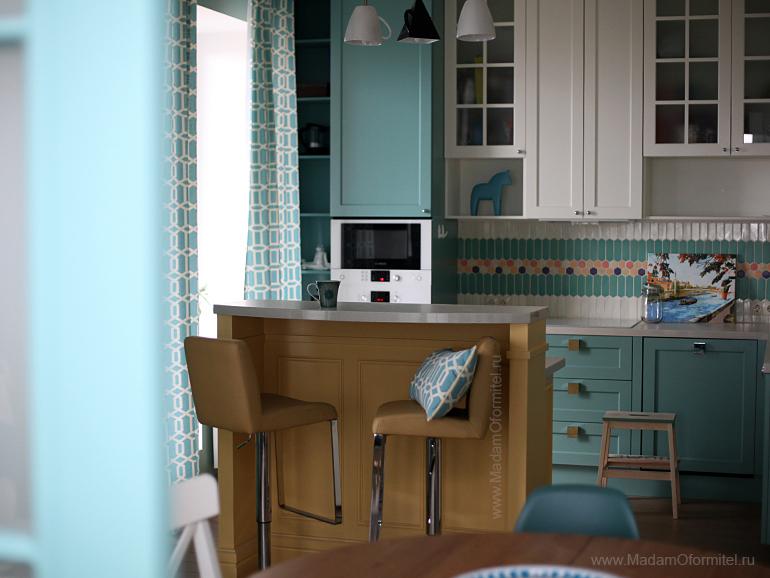 Шторы в квартире молодой семьи,  шторы на заказ, шторы от Мадам Оформитель, пошив штор на заказ, пошив штор в Санкт-Петербурге, пошив штор, шторы на кухню
