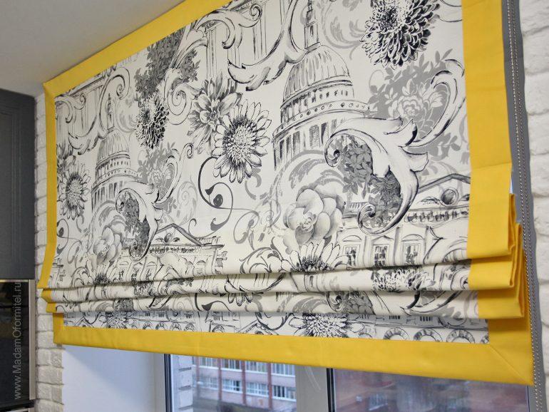 Шторы в квартире молодой семьи,  шторы на заказ, шторы от Мадам Оформитель, пошив штор на заказ, пошив штор в Санкт-Петербурге, пошив штор, шторы на подкладе, римские шторы, шторы на кухню