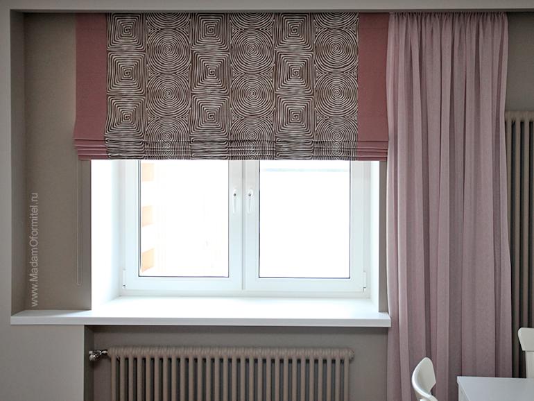 Шторы с вышивкой, Кант на шторах, Шторы с кантом, римские шторы, римские шторы с кантом, шторы от Мадам Оформитель, пошив штор на заказ в СПб, шторы на подкладе,