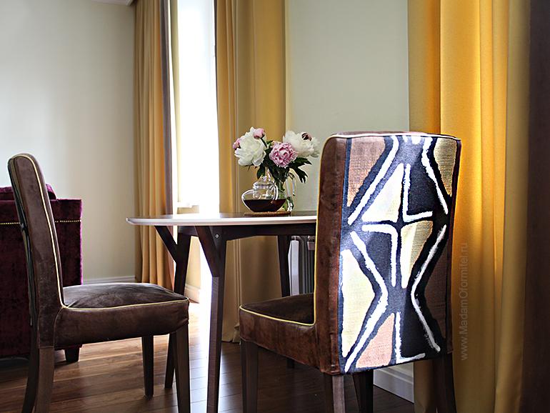 шторы в гостиной, пошив штор в СПб, шторы на заказ, шторы от МадамОформитель, римские шторы, шторы с бархатом, дорогие шторы, пошив дорогих штор, шторы для кухни совмещенной с гостиной, чехлы на стулья