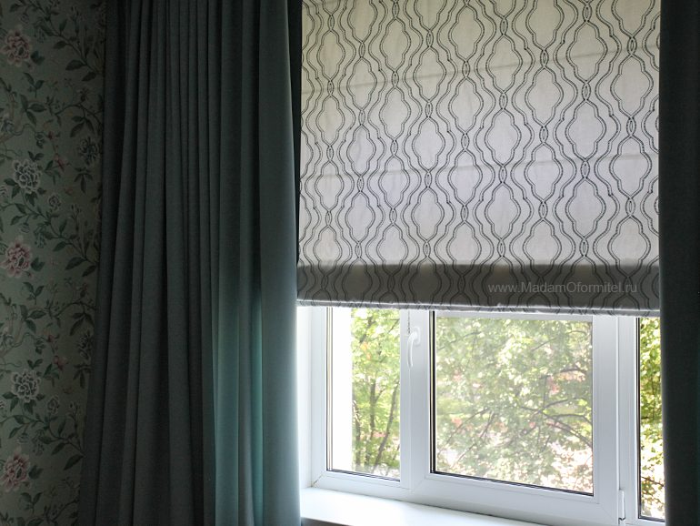 шторы в спальне, пошив штор в СПб, шторы на заказ, шторы от МадамОформитель, римские шторы, шторы с вышивкой, дорогие шторы, пошив дорогих штор, шторы для спальни