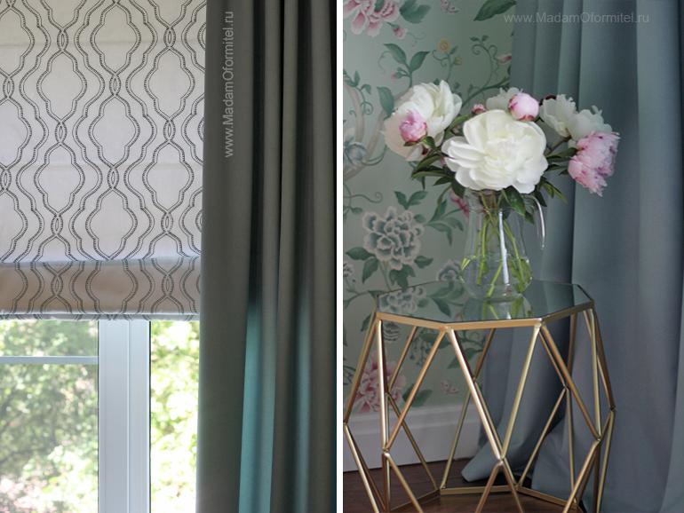 шторы в спальне, пошив штор в СПб, шторы на заказ, шторы от Мадам Оформитель, римские шторы, шторы с вышивкой, дорогие шторы, пошив дорогих штор, шторы для спальни, английские ткани с вышивкой
