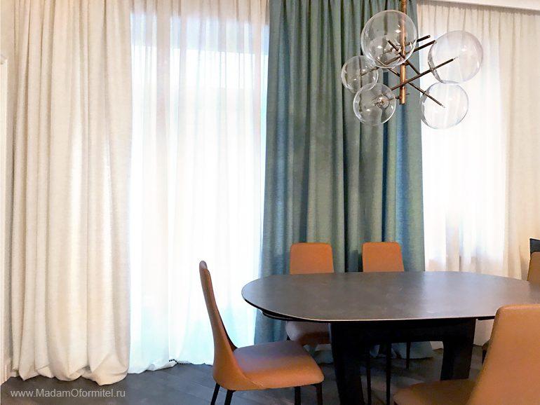качественные пошив штор, Шторы на кухне, шторы в столовой, пошив штор на заказ, шторы на нестандартные окна, шторы на сложные окна, шторы от Мадам Оформитель, шторы Спб, пошив штор Спб